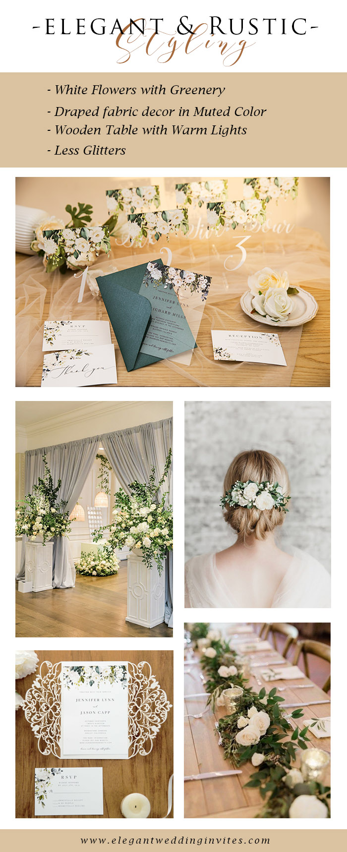 elegant rustic chic ivory white and greenery wedding color theme