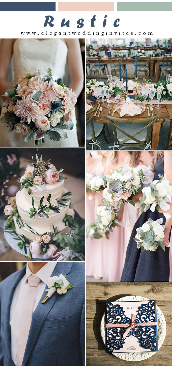 elegant rustic navy blue and blush pink wedding colors