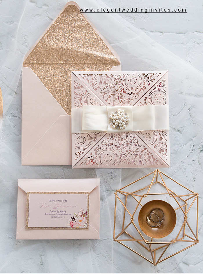 elegat blush pink laser cut wedding invitation with stacked loop bow