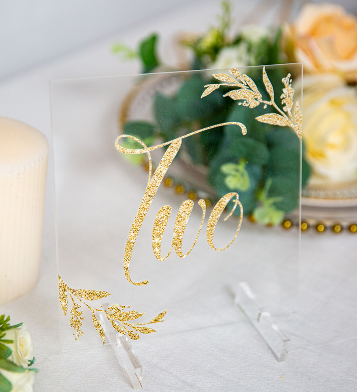 glitter gold printing clear acrylic wedding table signs