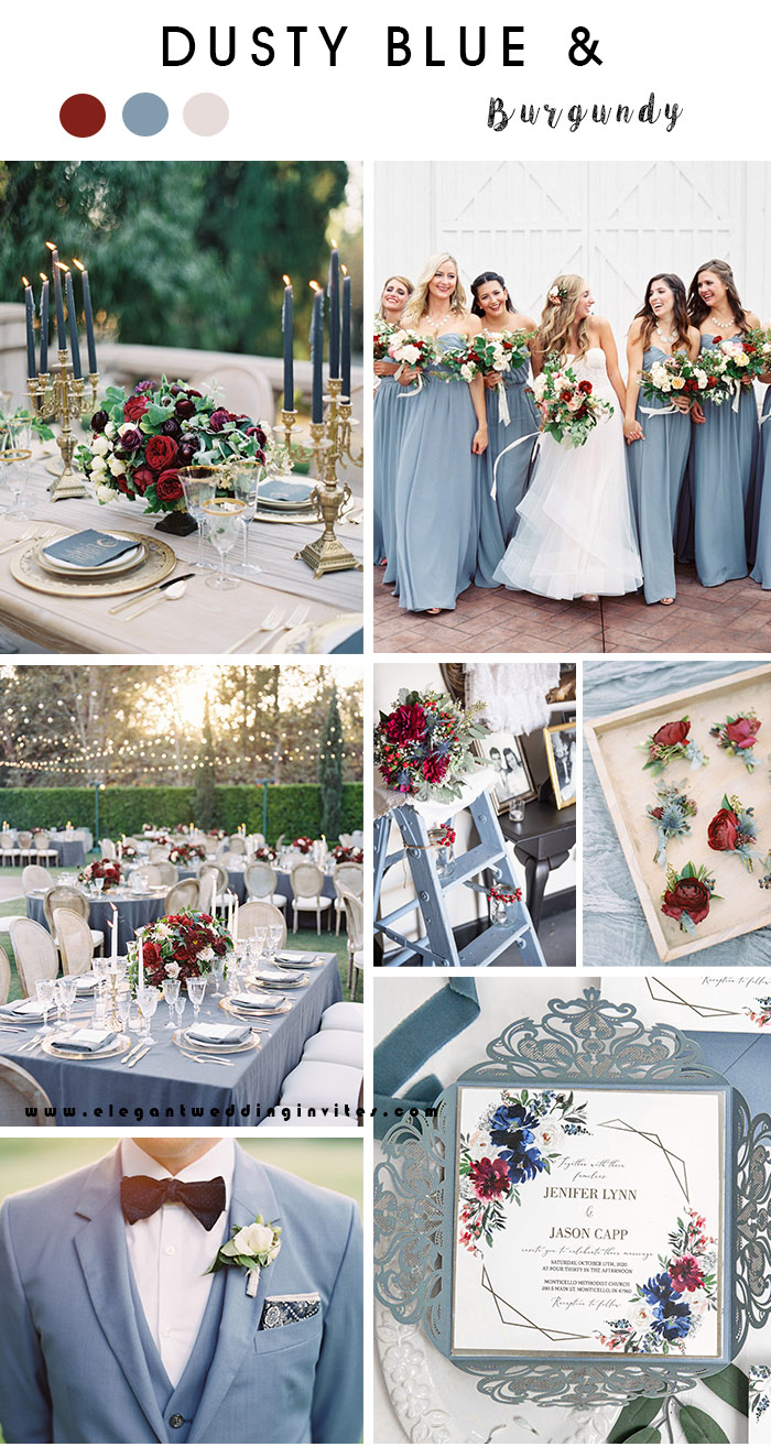 hot and classic dusty blue fall wedding color palette