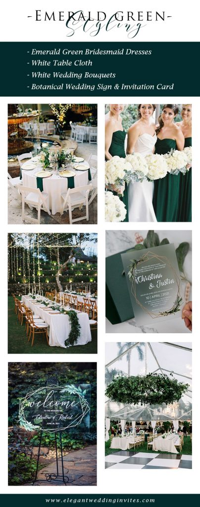 jewel tone chic emerald green and white wedding color palette