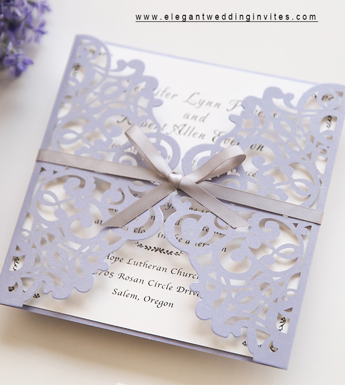 lavender purple laser cut wedding invitation with hand tied ribbon tie