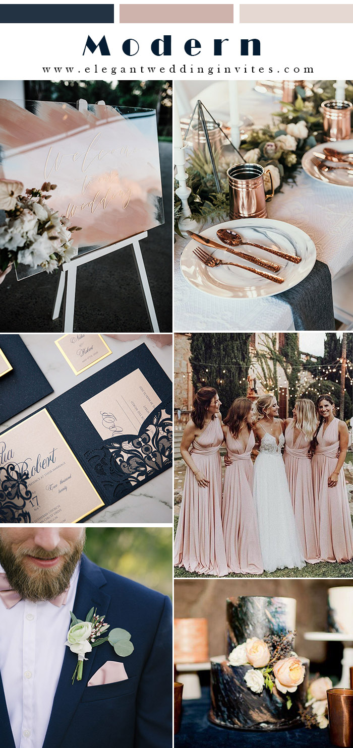 midnight blue and dusty pink modern industrial wedding theme