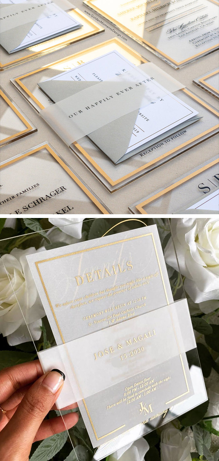 modern acrylic wedding invitation with vellum belly band with envelopes