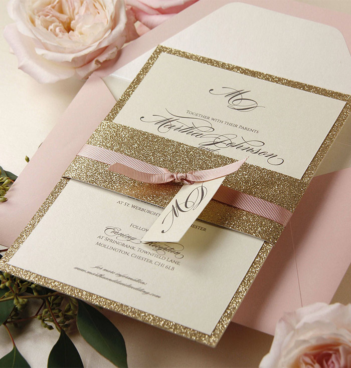 modern rose godl glitter wedding invitation suite with ribbon and tag