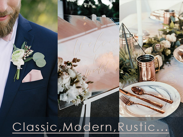 popular wedding themes for navy blue and blush wedding color