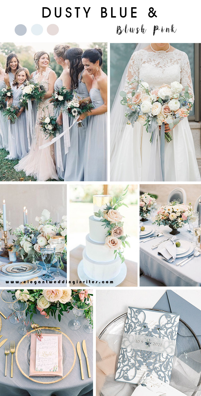 romantic dusty blue and blush pink spring and summer wedding color theme