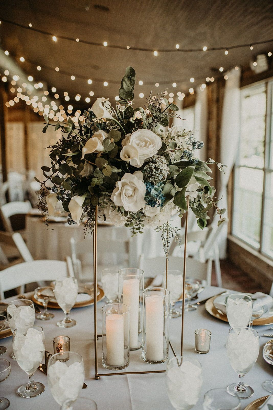 romantic flower metallic stand wedding centerpieces 1