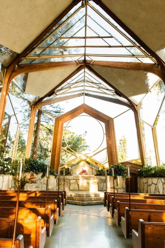 romantic glass church wayfarers chapel wedding venue