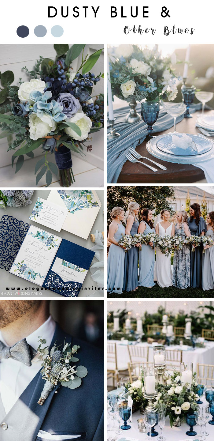 shades of blue rustic chic outdoor wedding color inpiration