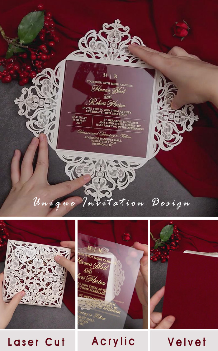 unique and special laser cut wedding invitation with acrylic card and red velvet