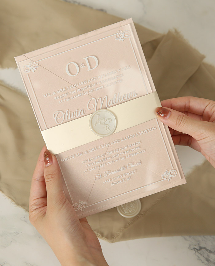 white print arylic weding invitation card with wax seal