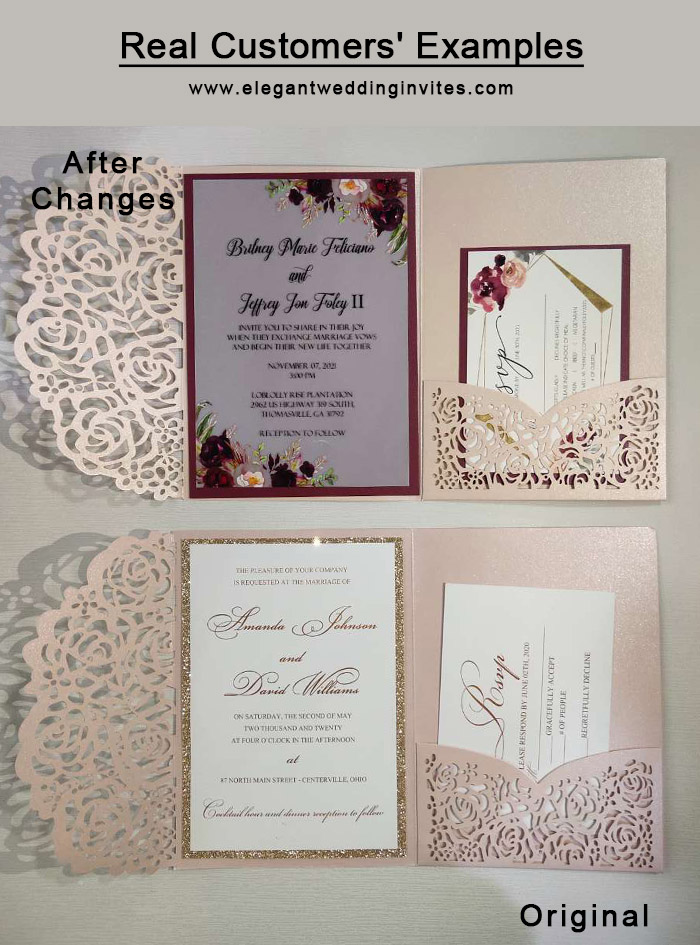 before and after customzied wedding invitation images