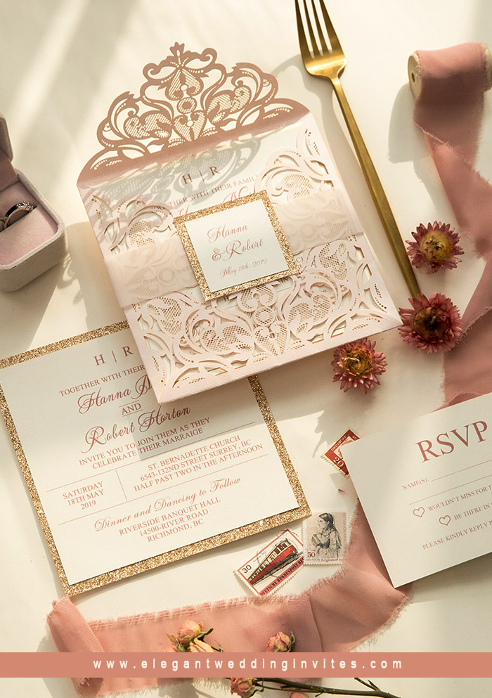 blush pink and rose gold belly band laser cut wedding invites