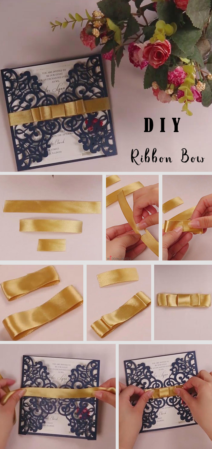diy silky gold ribbon bow for your wedding invitations
