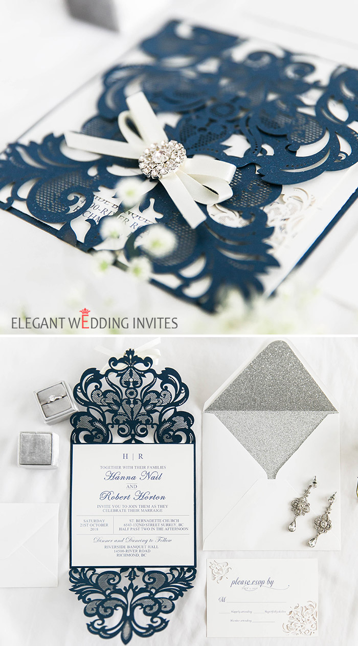 elegant and classic blue and silver ribbon wedding invitations