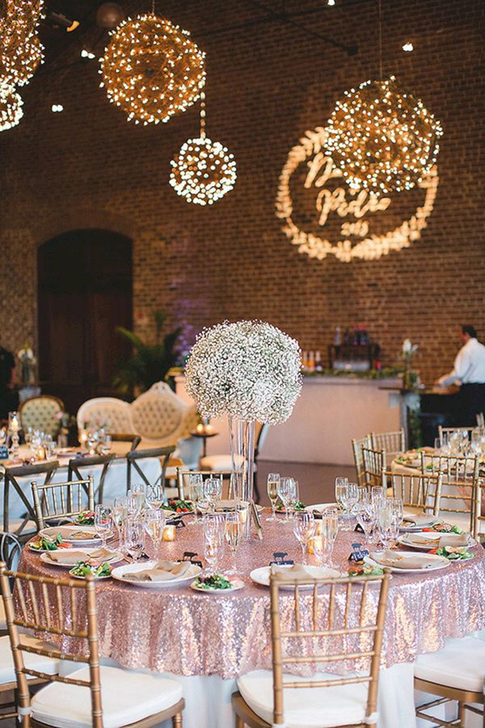 gorgeous glitzy rose gold wedding reception ideas with romantic lights