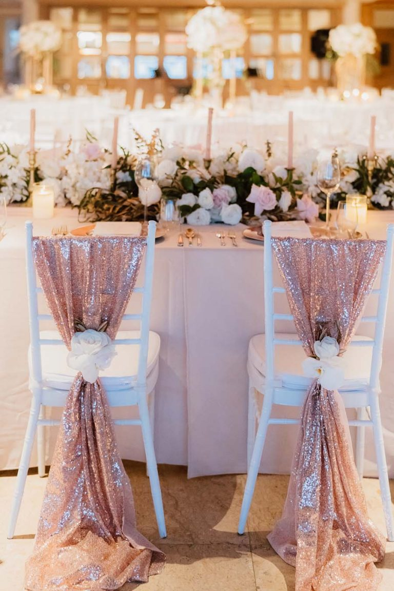 incredibly romantic blush white and rose gold wedding chair decoration