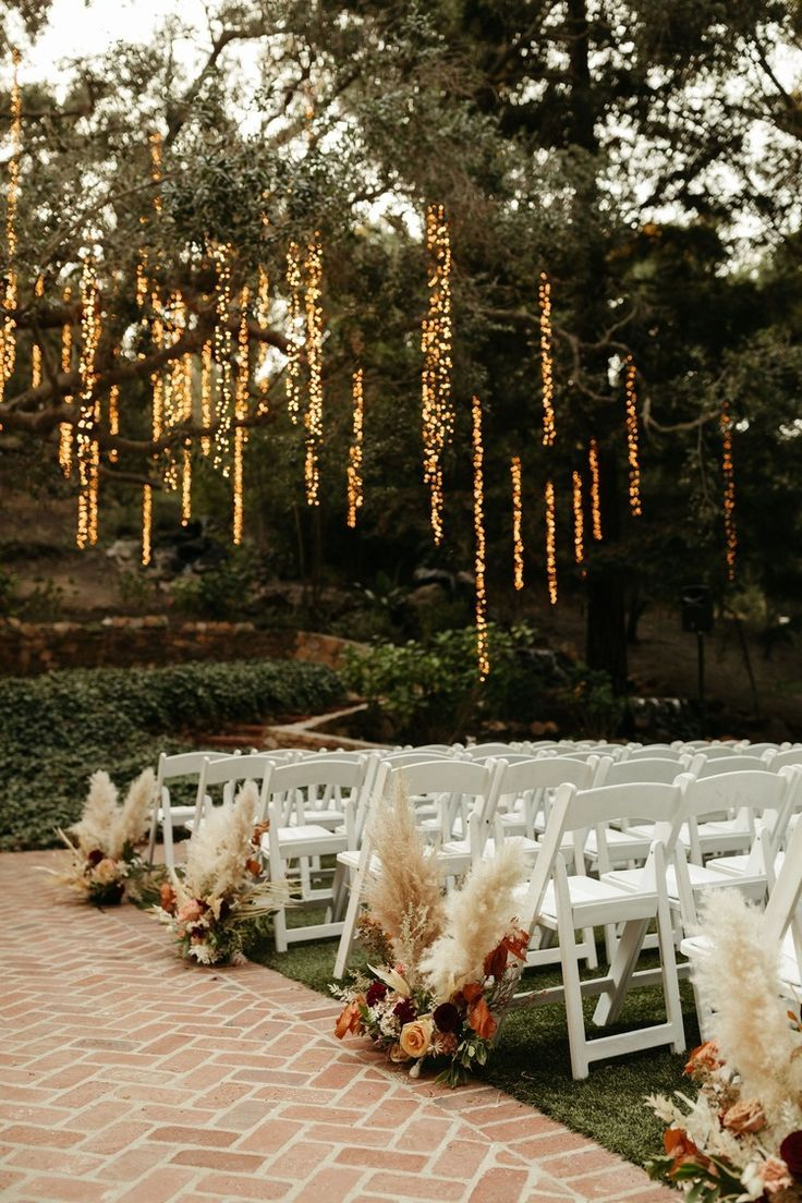 romantic and whimsical string lights wedding ceremony decor