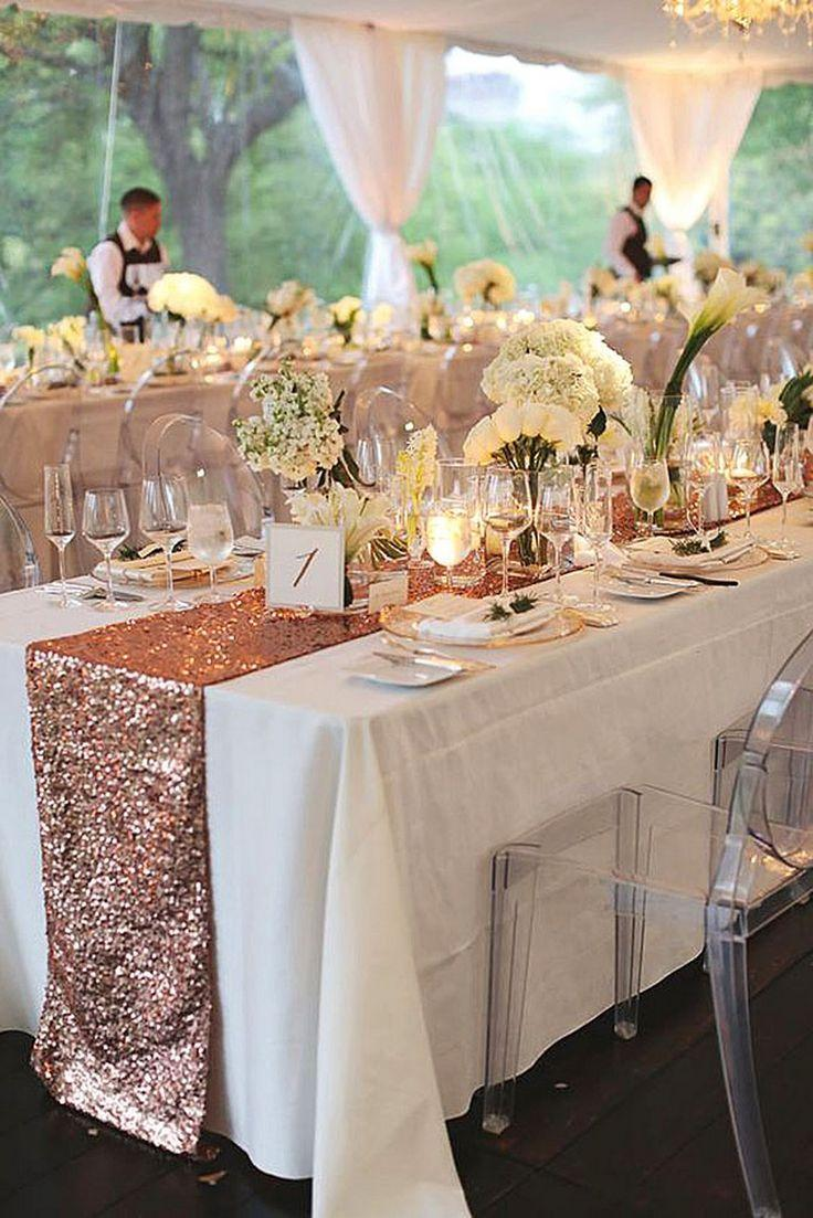 romantic simple white wedding with rose gold accents 2