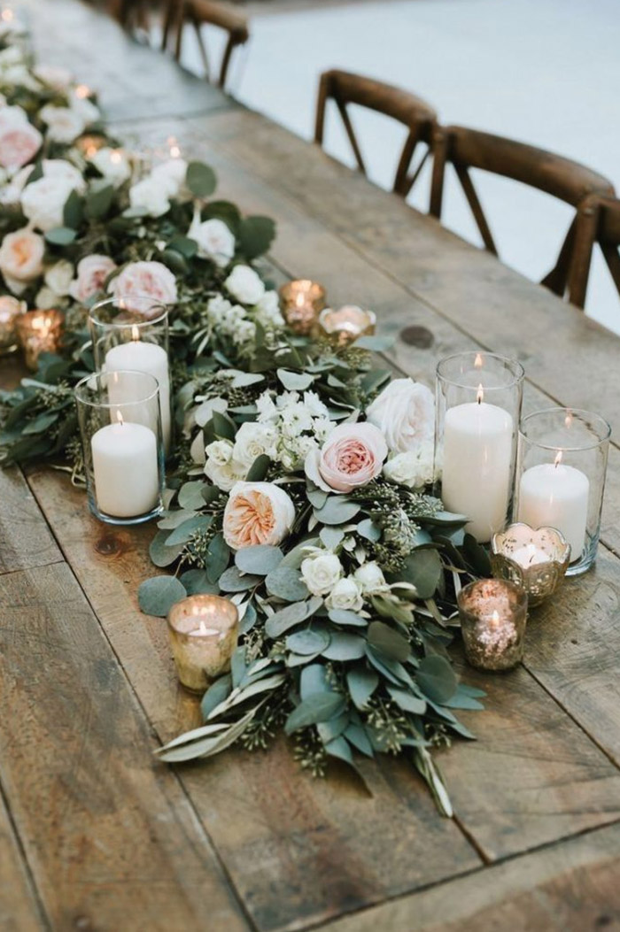 rustic chic lush pink flower and candle lights weddig table decoration