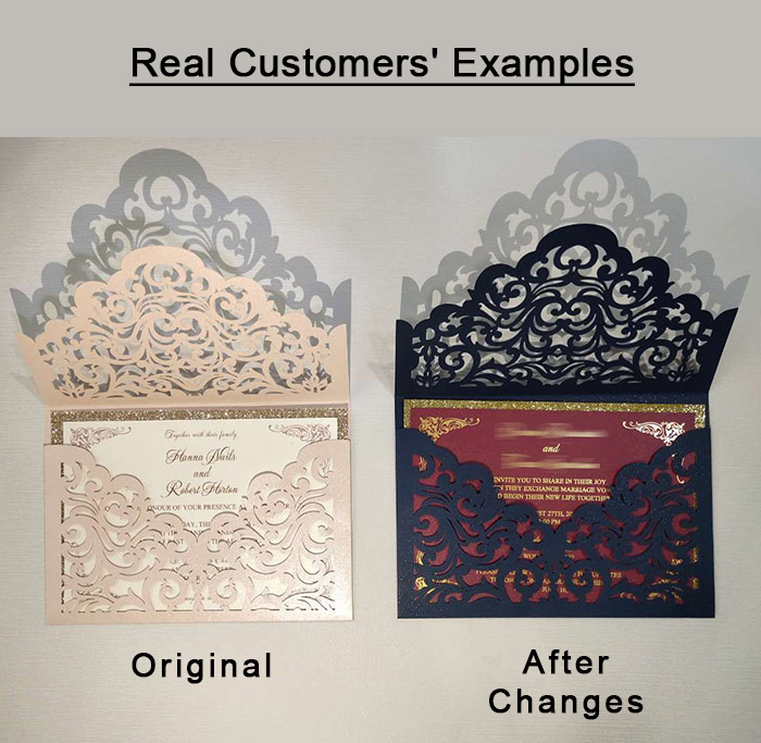 semi customer weding invitations before and after examples