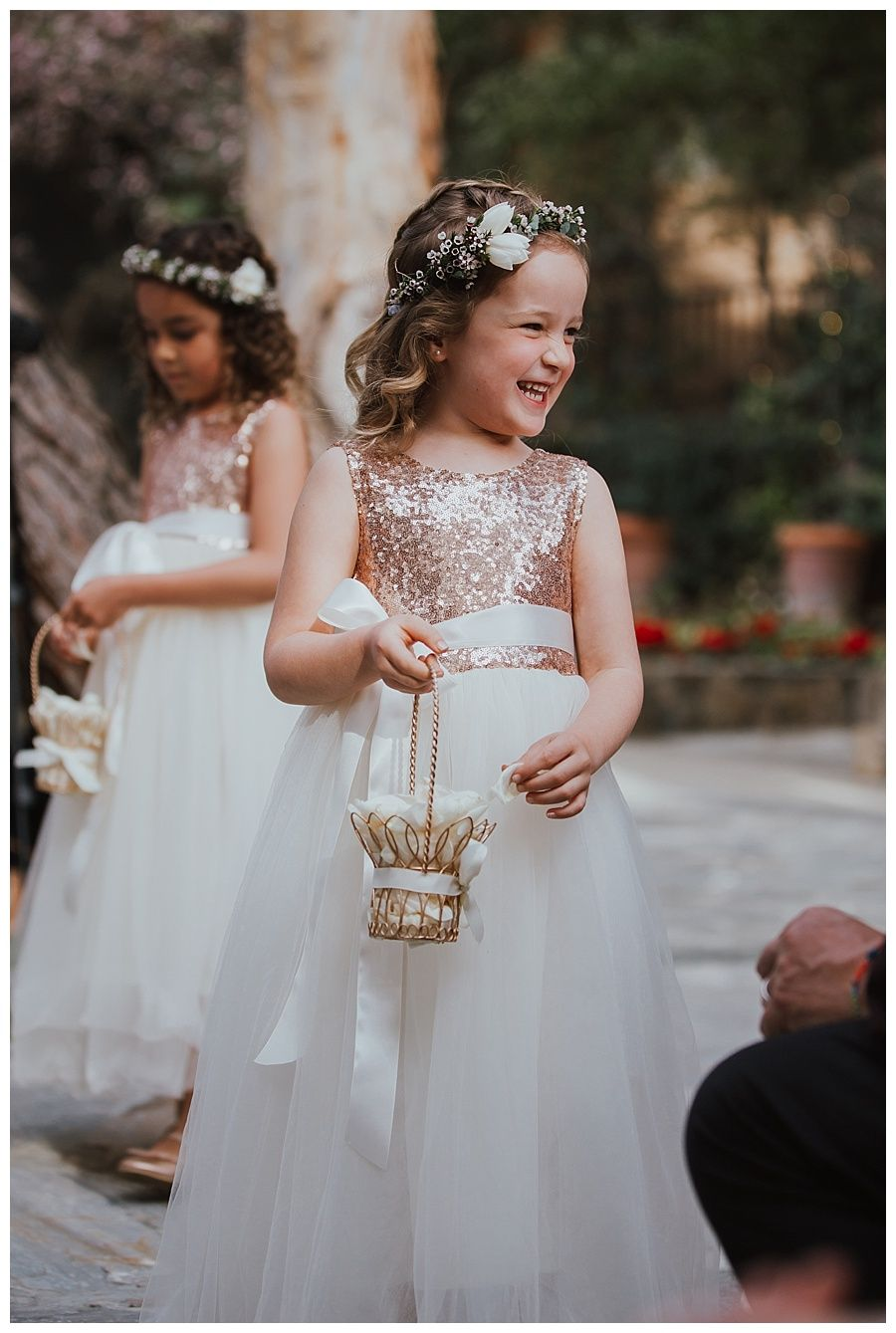 simple white tulle flower girl dress with rose gold sequin top