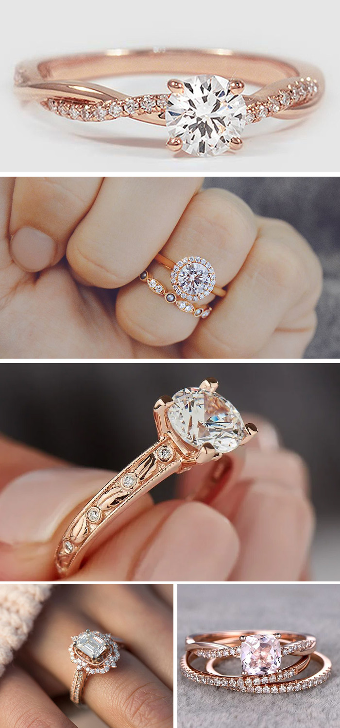 stunning rose gold engagement rings and wedding rings