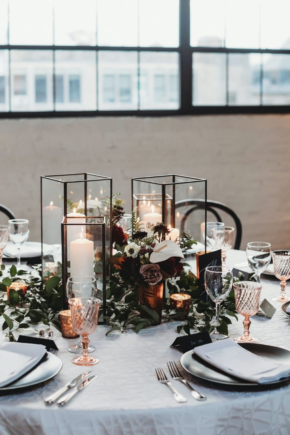 tall hurricane candle holders modern industrial wedding centerpieces