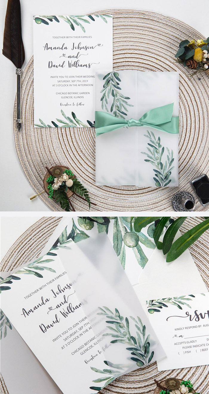 trending greenery olive branch wedding invitation with matching vellum paper wrap