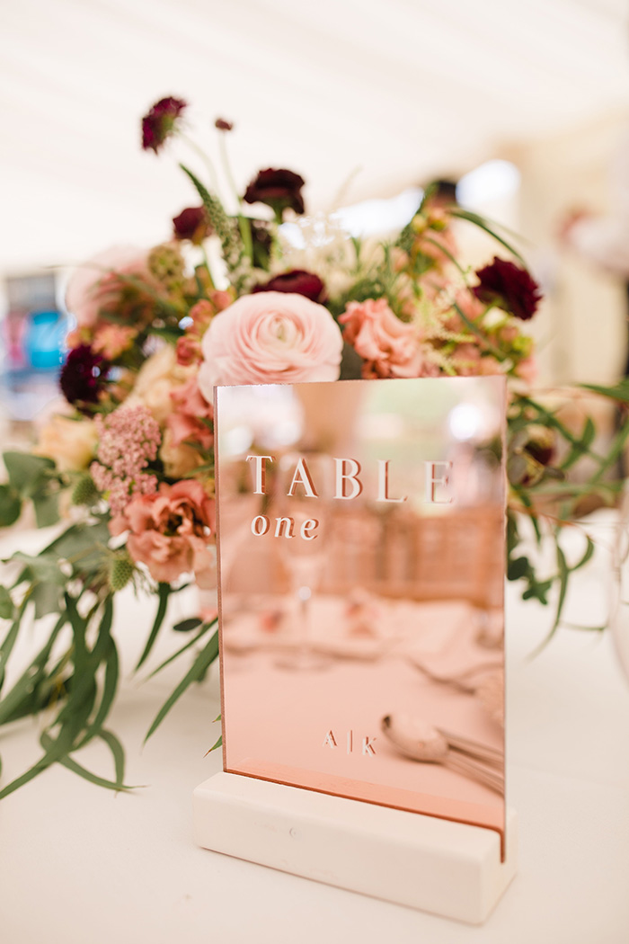 trending rose gold mirror wedding table number cards