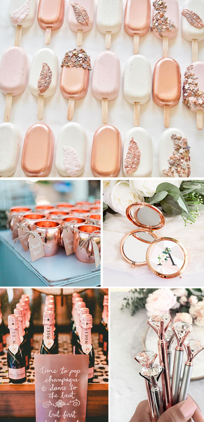 wedding favors with rose gold color