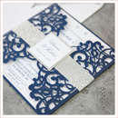 blue and silver gray wedding invitation suite