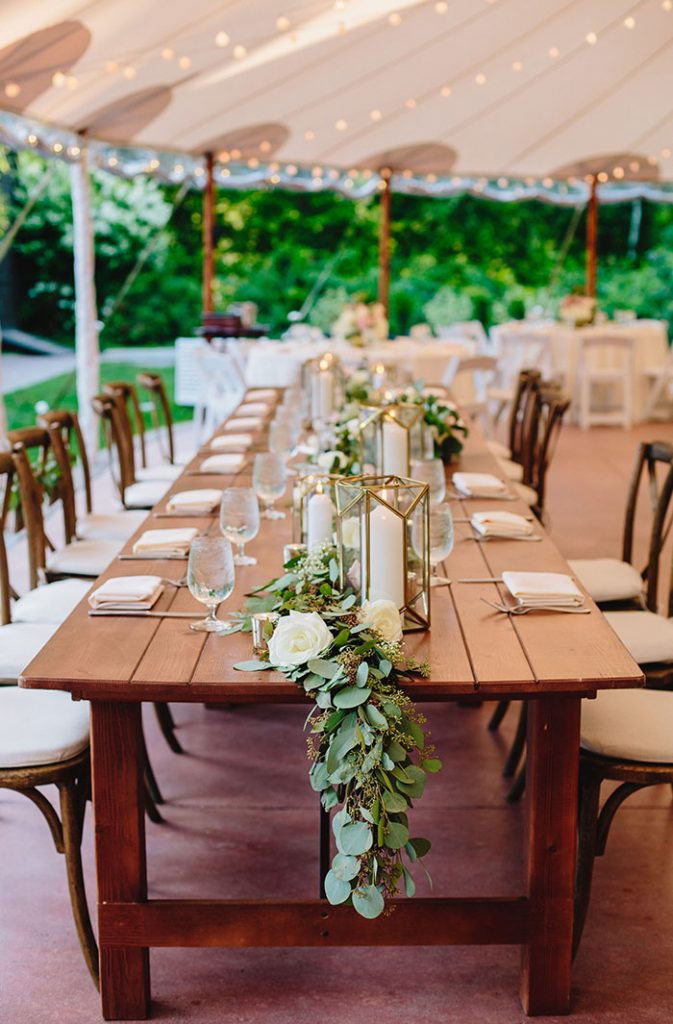 botanical tented wedding centerpieces with geometric candle holders