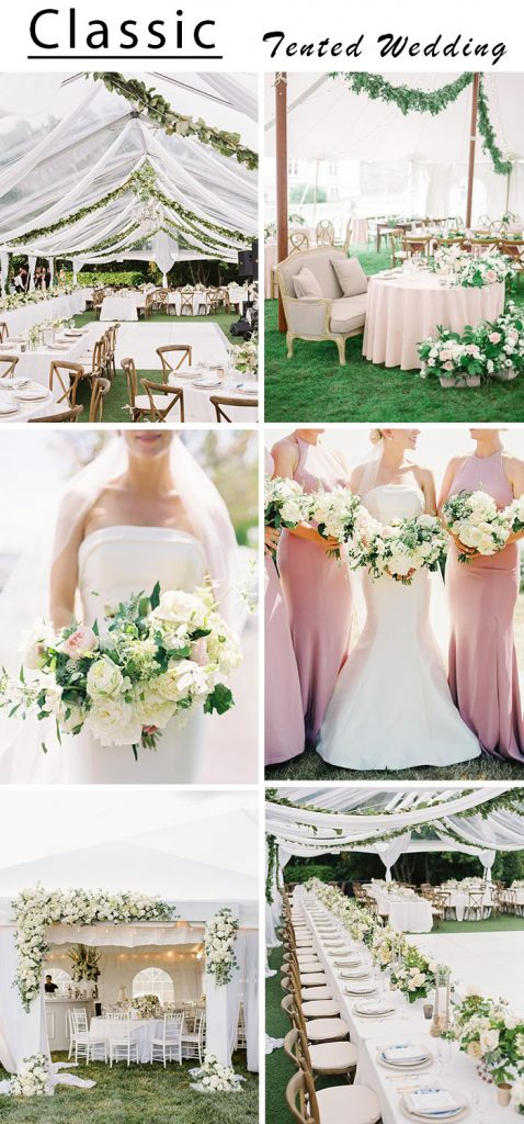 classic elegant outdoor pink and white tented wedding