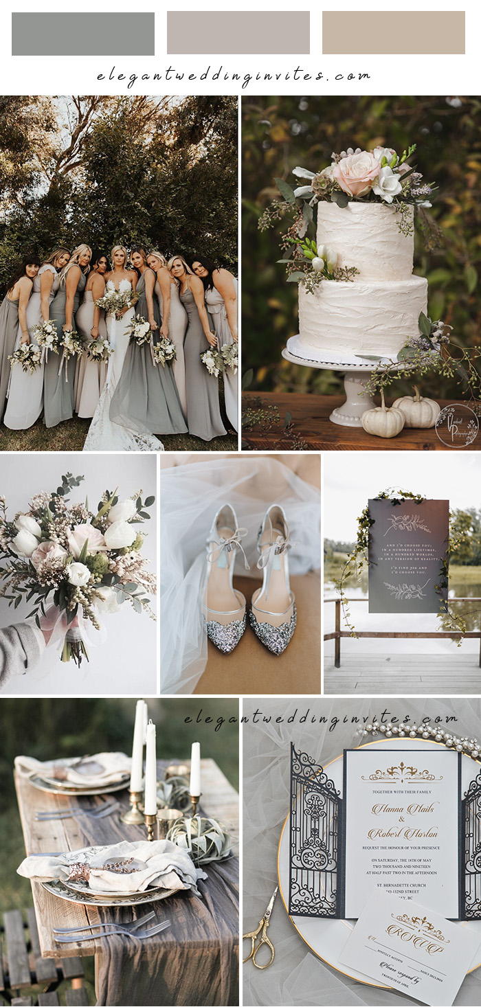 intimate small modern vintage neutral greyy wedding color theme