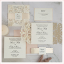 modern color laser cut wedding invitations