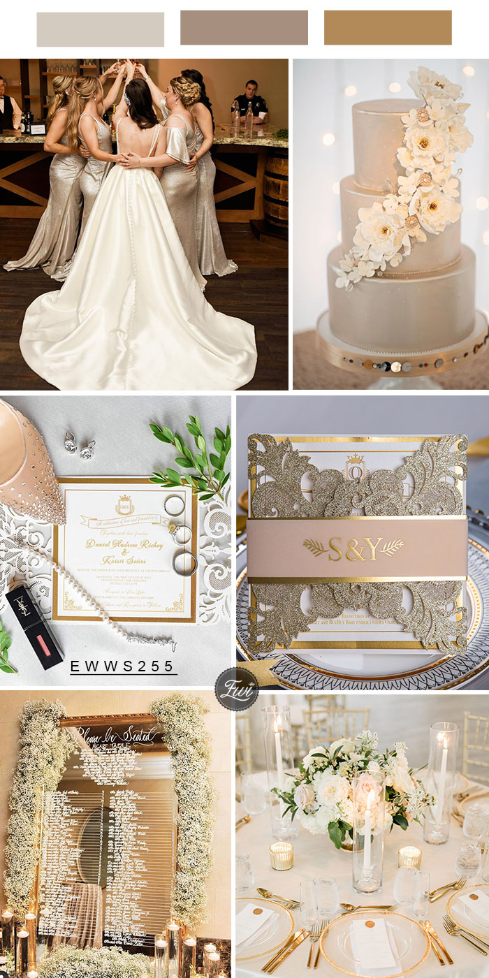 modern glitter glam wedding color theme and invitations