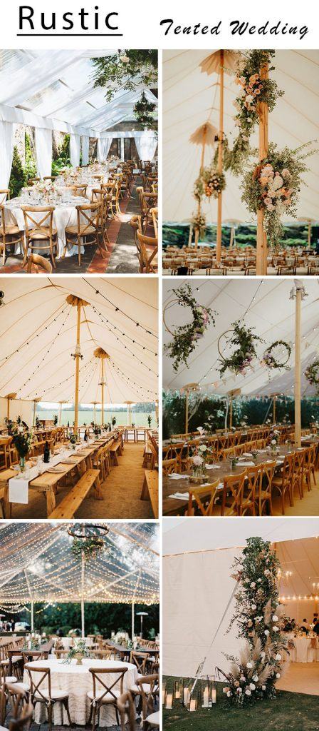 relaxed rustic tented wedding reception ideas