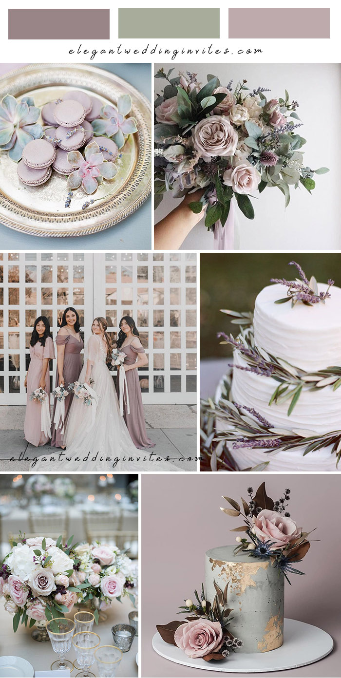 romantic lavender and lilac shades of purple and sage wedding colors