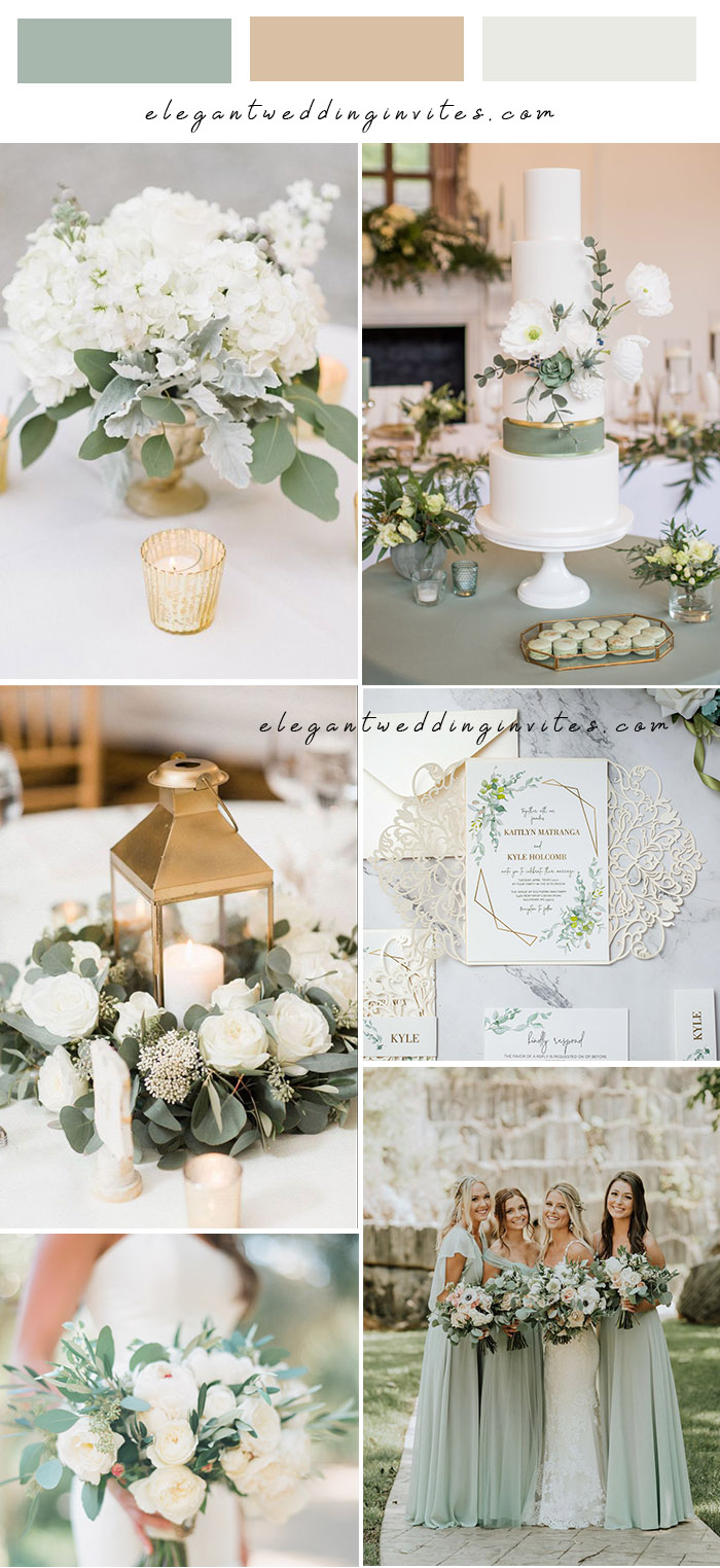 sage green white and gold neutral garden wedding colors