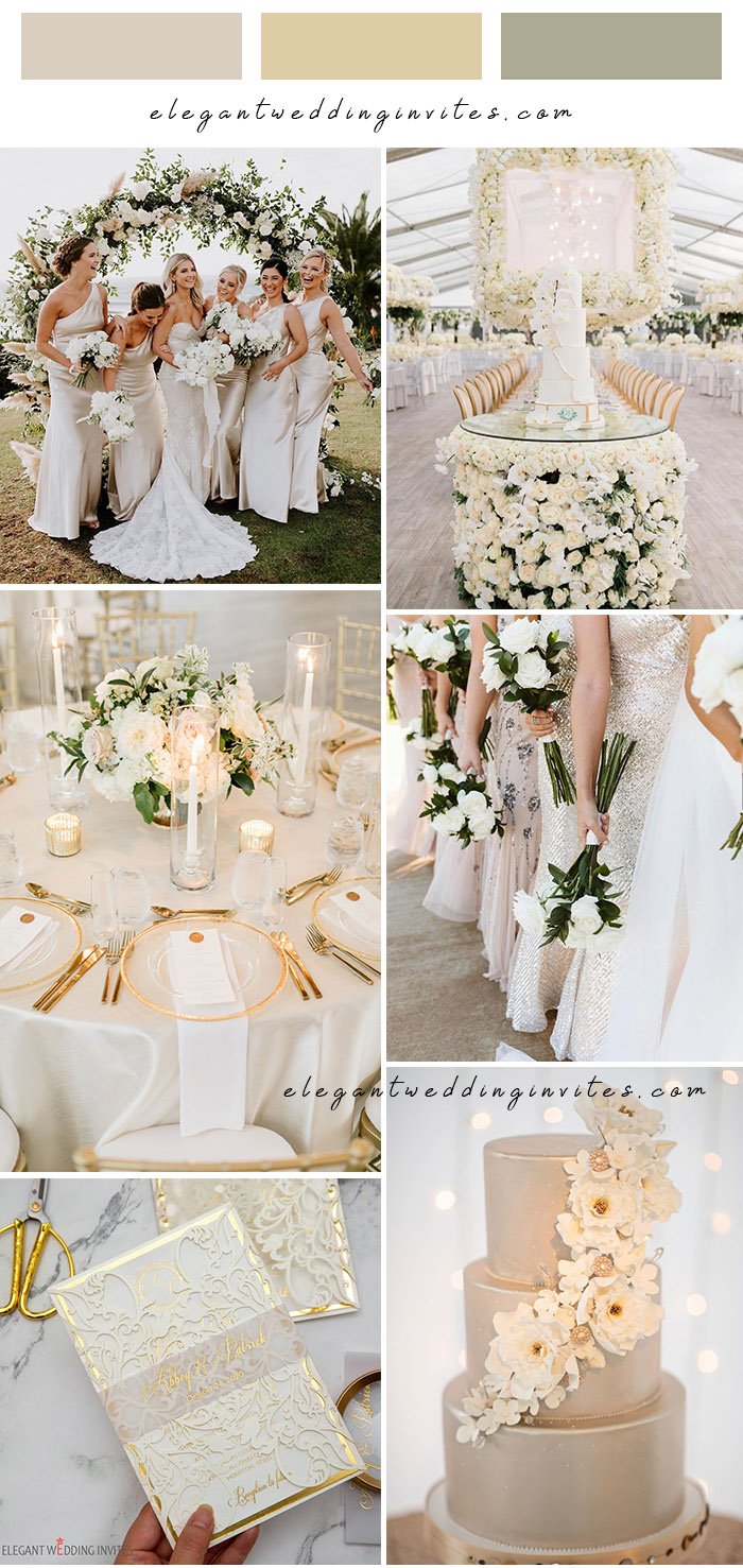 shimmer offwhite and gold neutral color glam wedding ideas