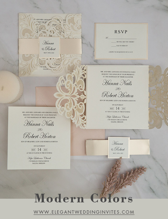 simple and modern color theme neutral wedding invitations