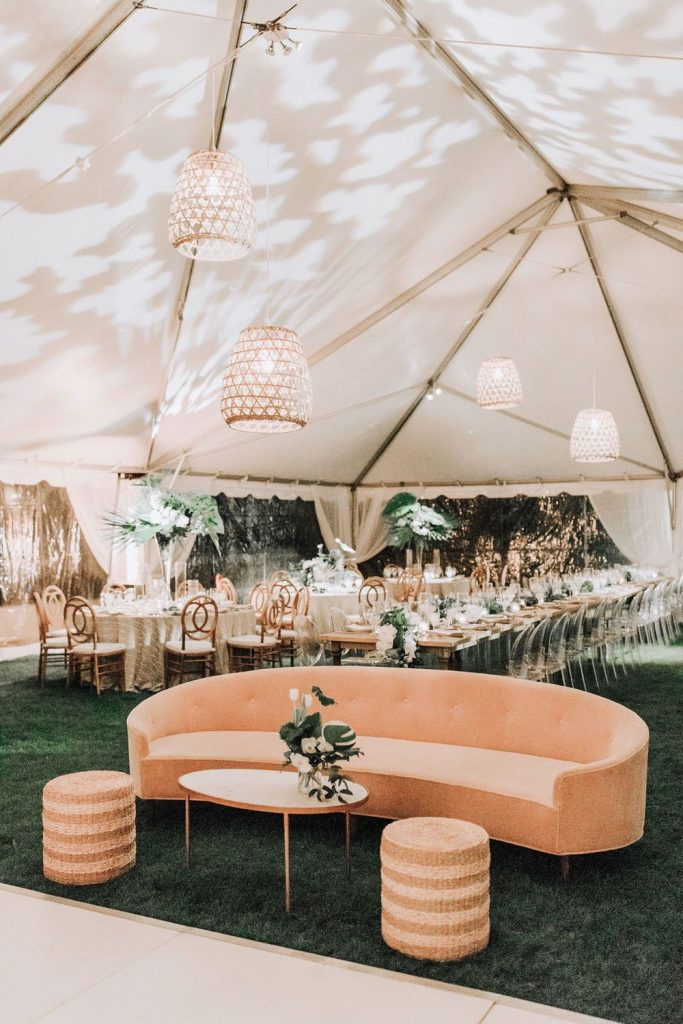 stylish modern lounge area in a wedding tent