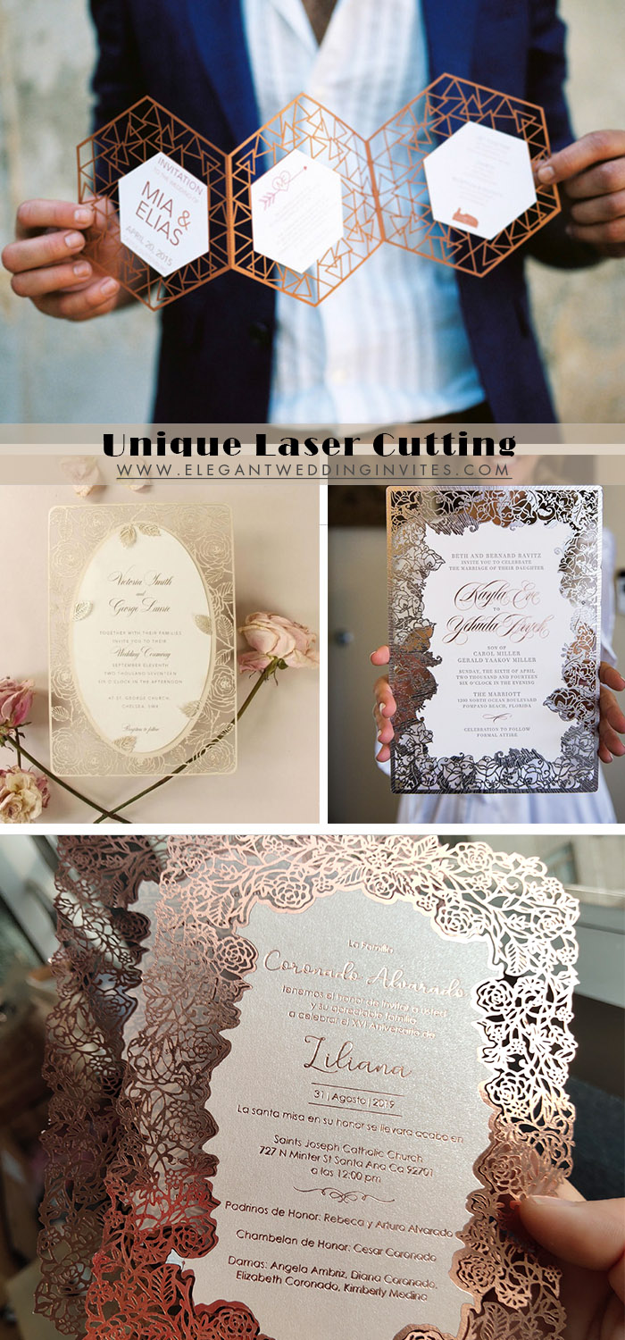 unique and fun laser cutting wedding stationery