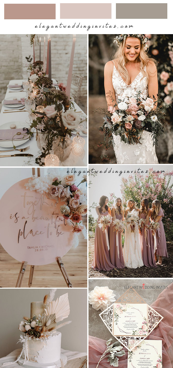 unique dusty pink and grey boho rustic wedding theme