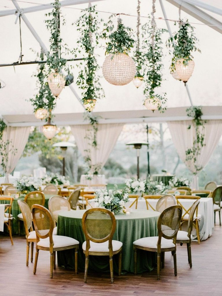 unique hanging lighting ideas for tented weddign event