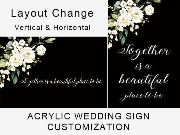 white floral acrylic wedding sign customization examples