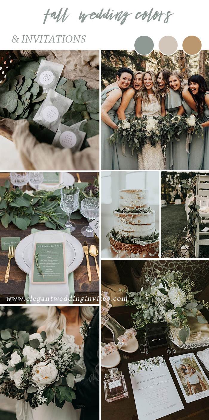 Moody romantic sage white and gold fall and winter wedding color inspirationjpg